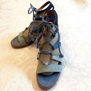 Frye | Brielle Denim Color Block Gladiator Sandals